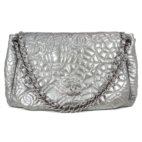 Silver quilted Chanel Front