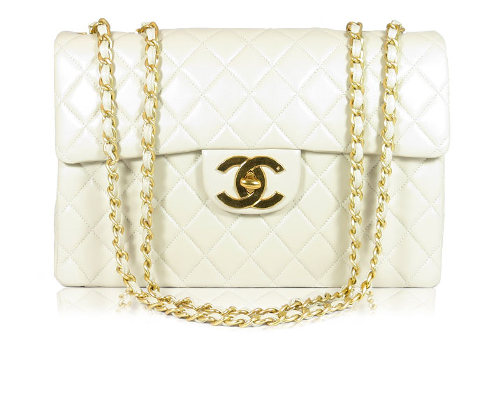 85e468b47edcef ... Authentic CHANEL Ivory Matelasse Quilted Lambskin Maxi Flap Bag.  whitechanelfront